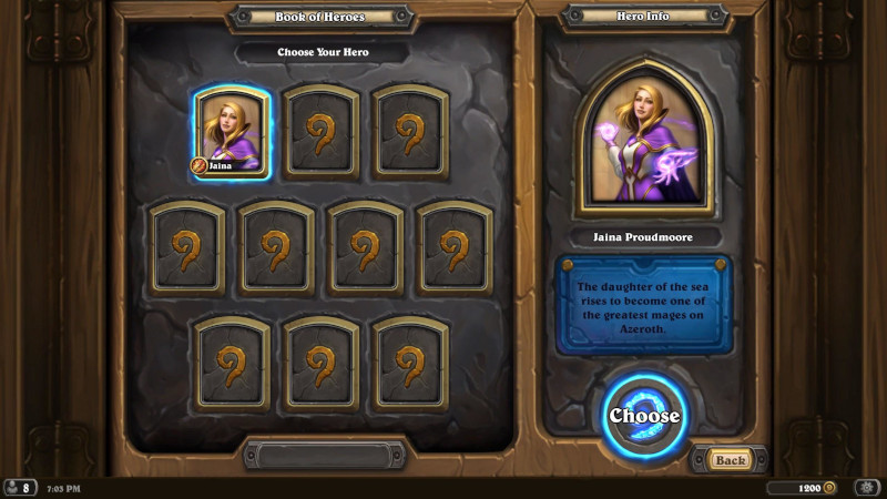 Book of Heroes: Jaina Selection Screen